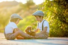 I bambini dolci, i fratelli del ragazzo, giocanti con l'orsacchiotto riguardano un piccolo Fotografie Stock Libere da Diritti