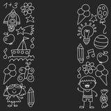 I bambini fanno il giardinaggio, bambini disegnati a mano monocromatici fanno il giardinaggio elementi modello, illustrazione di  illustrazione vettoriale