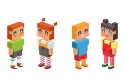 i bambini isometrici 3d scherza il concetto che della gente le icone piane vector insieme il maschio quadrato della femmina dell' Immagine Stock