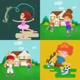I bambini mettono in mostra, ragazzo isolato e ragazza che giocano il vettore dei giochi attivi Immagini Stock Libere da Diritti