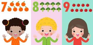 I bambini passano la mostra del numero sette, otto, nove, bambini che mostrano i numeri 7,8,9 dalle dita Concetto di istruzione,  illustrazione vettoriale
