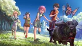 I bambini piccoli svegli dell'illustrazione del fumetto raggruppano l'inseguimento del cane di animale domestico illustrazione vettoriale