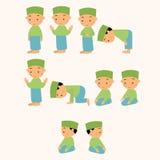 I bambini pregano pregare il movimento musulmano del ragazzo di islam dello shalat illustrazione di stock