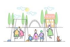 I bambini raggruppano sulla festa di svago del campo da giuoco Immagine Stock Libera da Diritti