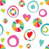 I bambini scarabocchiano il giro disegnato a mano, modello di ripetizione di colore del cerchio illustrazione di stock