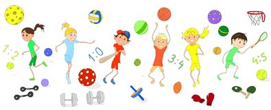 I bambini sono impegnati in vari sport insieme Immagine Stock