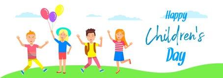 I bambini sorridenti allegri stanno su erba vacanza royalty illustrazione gratis