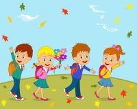 I bambini stanno andando a scuola Fotografia Stock Libera da Diritti