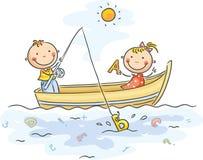 I bambini stanno pescando Fotografia Stock