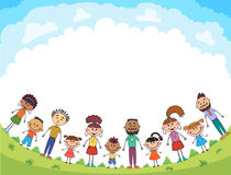 I bambini stanno saltando sulla radura, vettore divertente del fumetto del bunner, illustrazione illustrazione di stock