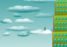 I bambini vanno alle nuvole da un grattacielo royalty illustrazione gratis