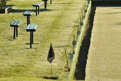 I banchi si avvicinano al bowling green Fotografie Stock Libere da Diritti