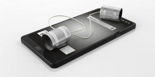 i barattoli di latta della rappresentazione 3d telefonano su uno Smart Phone Immagine Stock Libera da Diritti