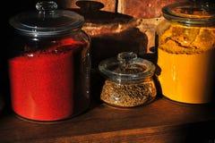 I barattoli di vetro brillanti hanno riempito di spezie variopinte assortite su uno scaffale di legno Fotografie Stock Libere da Diritti