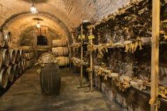 I barilotti di vino ed il formaggio di pecorino formaggi italiani a pasta dura fatti dal ` s della pecora mungono in una cantina  Immagini Stock