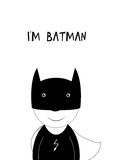 I am Batman. Smile boy - Superhero in black and white colors Royalty Free Stock Images