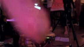 I batteristi acustici che giocano il djembe, i tamburi ed i gatti vivono stock footage