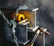I beams. With welding tools and chain Stock Images