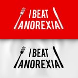 Ironic Slogan. I Beat Anorexia: Ironic Slogan with Fork and Knife on White and Red for Creative Idea Stock Images
