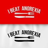 Ironic Slogan. I Beat Anorexia: Ironic Slogan with Fork and Knife on White and Red Tablecloth Royalty Free Stock Images