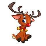 I beells d'uso del fumetto del naso del carattere rosso divertente della renna oh il suoi collo e Natale di seduta vector l'illus Fotografia Stock