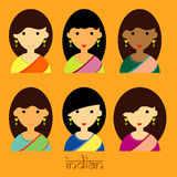 I bei caratteri di signora del vettore stabilito dell'indiano e dello stile di capelli lungo Fotografie Stock