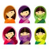 I bei caratteri femminili del vettore stabilito dell'indiano progettano, avatar Fotografia Stock Libera da Diritti