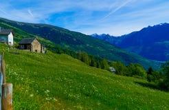 I bei svizzeri abbelliscono con una casa nelle alpi di estate Fotografia Stock Libera da Diritti