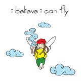 I believe I can fly. Rastaman with joint flies in clouds Royalty Free Stock Image