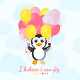 I believe i can fly. Cute penguin flies with balloons and believe in himself. Funny illustration with animals. Greeting card Royalty Free Stock Image