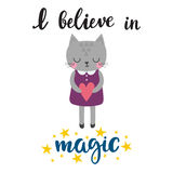 I believe in magic. Cute little kitty with heart. Romantic card, wedding invitation, greeting card or postcard. Illustration with Royalty Free Stock Photos