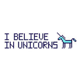 I believe in unicorns. Quote with abstract unicorn image in the eight bit style on a white background. Vector Image. It can be used for website design, article Stock Photo