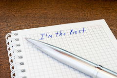I am the best, sign in the notebook Stock Image