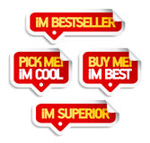 I am bestseller, buy me. Speech bubbles set for retail Stock Image