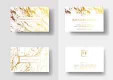I biglietti da visita eleganti con struttura di marmo ed oro illustrano in dettaglio il modello di vettore, l'insegna o l'invito  Fotografia Stock Libera da Diritti