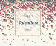 I biglietti di S. Valentino cardano con i coriandoli dei cuori immagini stock