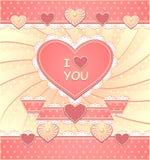 I biglietti di S. Valentino cardano con i cuori e il eleme scrapbooking Fotografia Stock Libera da Diritti