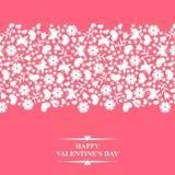 I biglietti di S. Valentino cardano con l'ornamento floreale orizzontale Fotografia Stock