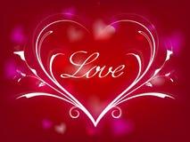I biglietti di S. Valentino cardano con la linea cuore Fotografie Stock Libere da Diritti