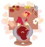 I biglietti di S. Valentino cardano la fabbricazione Fotografia Stock Libera da Diritti