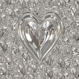 I biglietti di S. Valentino d'argento metal il cuore Fotografia Stock Libera da Diritti