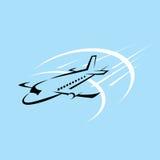 I biglietti di volo dell'aeroplano ventilano l'elemento della siluetta di viaggio della mosca Immagine Stock Libera da Diritti