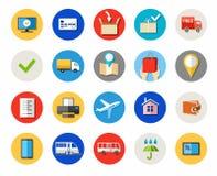I biglietti e gli acquisti online, la consegna, pagamento, hanno colorato le icone Fotografia Stock Libera da Diritti