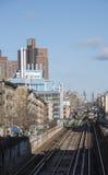 I binari ferroviari e la scienza di Greene si concentrano NY Fotografia Stock Libera da Diritti
