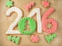 I biscotti da 2016 nuovi anni Fotografia Stock