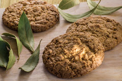 I biscotti dell'avena sulla tavola di legno con la baia va Immagine Stock