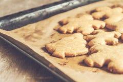 I biscotti di Natale su un primo piano di cottura filtrano il instagram Immagine Stock