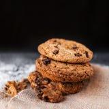 I biscotti di pepita di cioccolato su fondo scuro withmelted il pla della farina Fotografia Stock