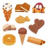 I biscotti differenti del wafer sulla cialda bianca del fondo agglutina e sull'alimento croccante del forno del dessert alla pann royalty illustrazione gratis