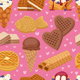 I biscotti differenti del wafer waffle dolci e vettore croccante dell'alimento del forno del dessert alla panna delizioso dello s royalty illustrazione gratis